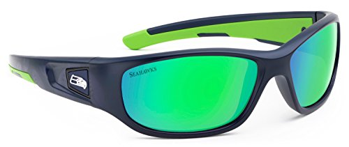 Officially Licensed NFL Sunglasses, Seattle Seahawks, 3D Logo on Temple - 100% UVA, UVB & UVC - Seattle Sunglasses