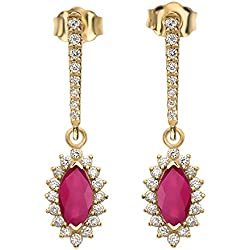 Diamond And Marquise Ruby 14k Yellow Gold Elegant Earrings