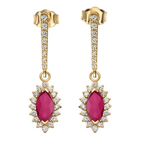 Diamond And Marquise Ruby 14k
