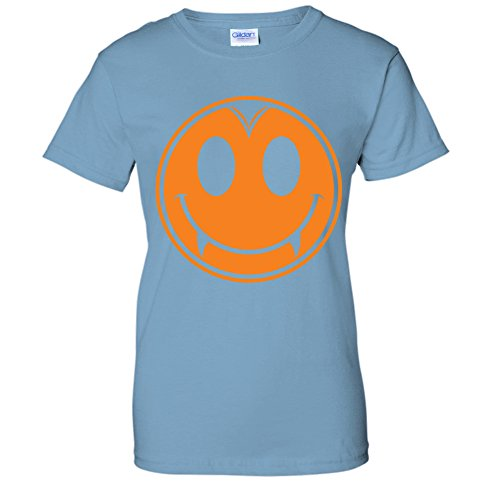 Dracula Vampire Smiley Face Emoji Happy Halloween Costume WOMENS T-Shirt (XL LTBLUE) -