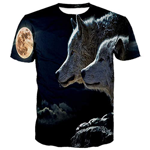 - Midnight Two Wolf Printing Men Women Casual T-Shirt XXL