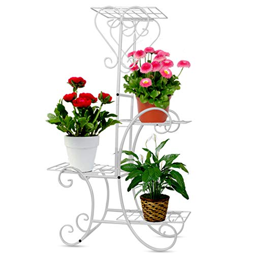 (Wrought Iron Flower Plant Stand 4 Tier Shelves Metal Flower Pots Rack for Indoor Outdoor Garden Decor (White))