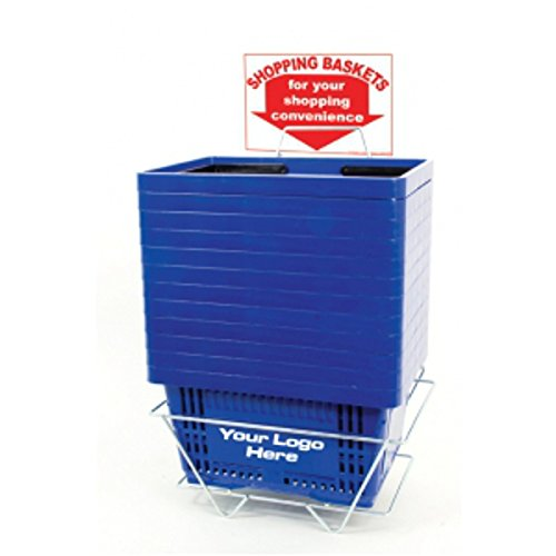 12 Shopping Basket Set Blue Standard-size w/ Plastic Handle Display Rack & Sign by Shopping Basket