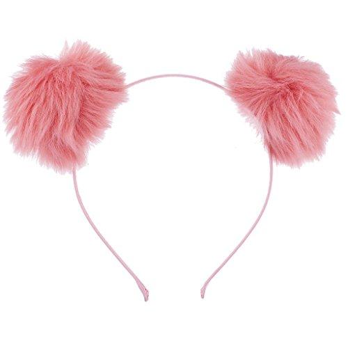 Lux Accessories Blush Faux Fur Pom Pom Ball Cat Ear Panda Costume Puff - Wrapped Sunglasses Wire
