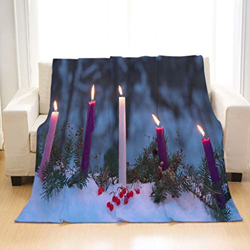 BEIVIVI Super Soft Warm Cozy Blanket Advent Candles Christmas Eve Prophecy Love Joy Peace Purity Throw Flannel Blanket for Baby, Children, Adults