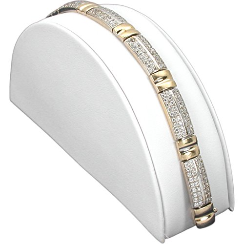 Half Moon Bracelet Display - FindingKing White Leather Bracelet Half Moon Display Ramp Stand