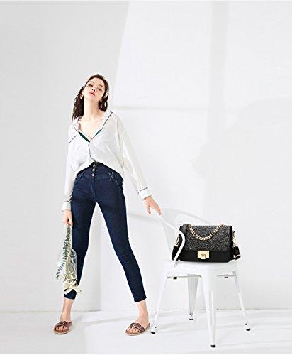 Leather Bag amp;Doris Small Women Pink Black Crossbody Nicole Shoulder Chain Handbag Fashion Bag Waterproof PU 7wzdqYU