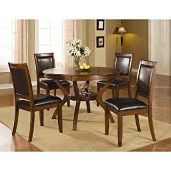 Amazoncom  Ashley Charrell 5 Piece Glass Round Dining