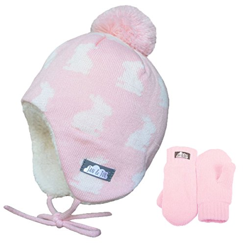 ds Girl Warm Fall Winter HAT & Mitten Fleece Lined (M: 6-24 Months, Hat & Mitten Set: Bunny Sisters) ()