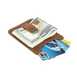AIKELIDA Rfid Money Clip Leather Front Pocket Slim Wallet Credit Card ID Holder