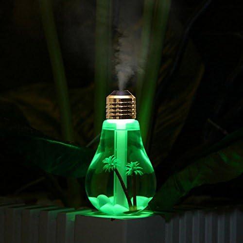 Version Micro Paysage avec Golden T/ête fang FNAS USB Humidificateur Brume Froide 400ml Portatif Transparent en Forme dampoule Diffuseur dair avec 7 Couleurs LED Lumi/ère de Nuit pour SPA Maison Bureau