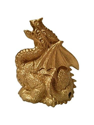 Golden Colored Ceramic Dragon Smoking Cone Incense Burner Gifts & Decor