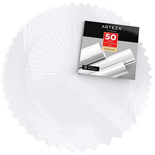 ARTEZA Self Adhesive Vinyl Sheets, 12x12, Glossy White, Pack of 50, Waterproof and Easy to Weed & Cut, for Indoor & Outdoor Projects, Compatible with Cricut & Other Craft Cutters