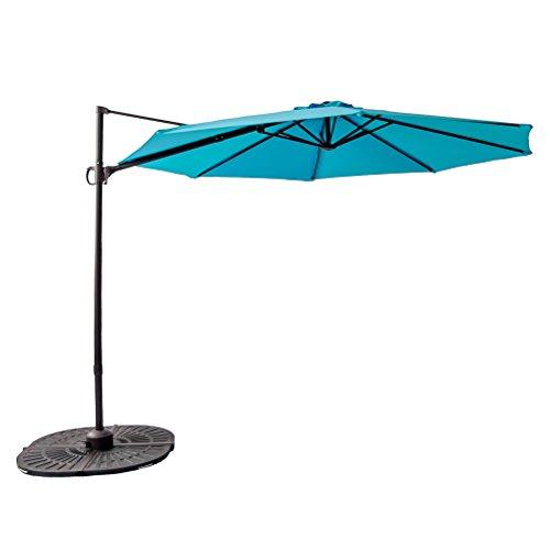 FLAME&SHADE 10′ Cantilever Offset Garden Umbrella, Hanging Outdoor Patio Umbrella, Infinite Tilting, 360° Rotation, Cross Base, Large Round, Aqua Blue