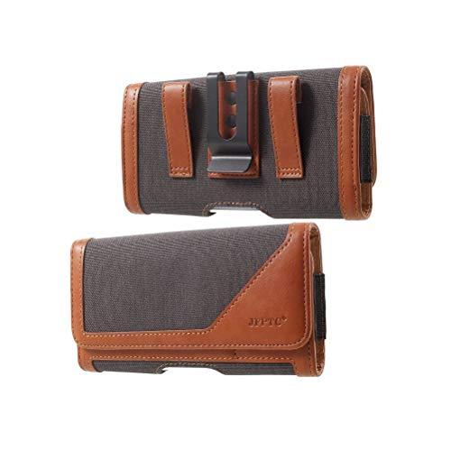 DFV mobile - Funda Cinturon Clip Metalico Horizontal Nuevo Diseño Textil y Piel para => ZTE Blade L3 > Gris/Marron