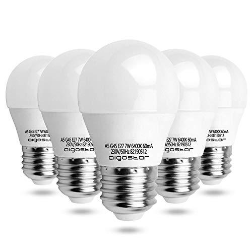 Aigostar – Led Lamp E27, 7 W (Vervangen 45W) Wit Licht 6400 K, 560 Lumen, Niet Dimbaar – 5 Stuks