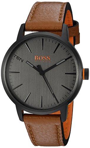 (HUGO BOSS Men's Copenhagen Stainless Steel Quartz Watch with Leather Strap, Brown, 20 (Model: 1550054)