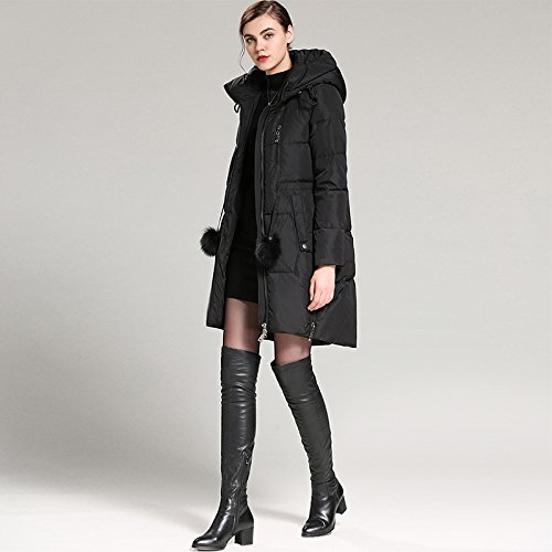 Long Solid Jacket XL DYF Coat Color Zipper Sleeve Thickened Hat Down Black Pocket wB88qaft