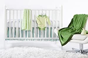 SwaddleDesigns 6 Piece Lightweight Crib Bedding Set with Crib Skirt with Luxury Adult Blanket, Pure Green, 0-3months