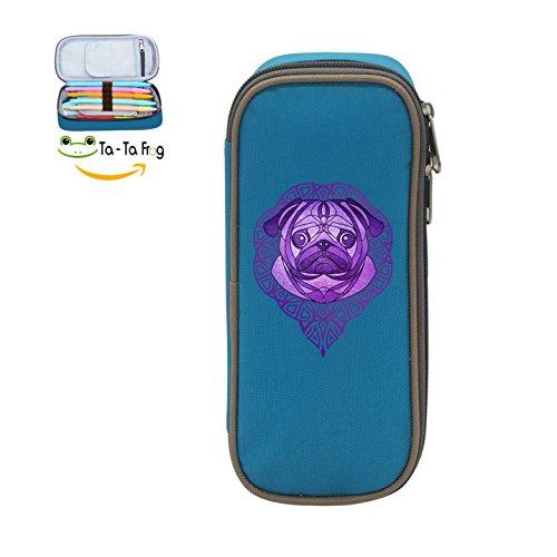 Mybox Purple Yoga Pug Cube Pen Case Pencil Box Soft Canvas Student Stationery Office Storage