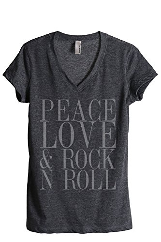 (Thread Tank Peace Love and Rock 'N Roll Women's Fashion Relaxed V-Neck T-Shirt Tee Charcoal Large)