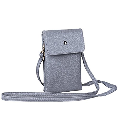 PU Leather Small Crossbody Bag Wallet Purse Cellphone Pouch with Shoulder Strap for Women Girls Fit iPhone X 8 7 Plus 6S/6 5S 5C Samsung Galaxy S8+ S7 S6 Edge S5 Katloo (Grey-small) - Edge Leather Shoulder Bag