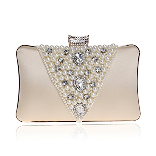 Lwzy Evening Bag Clutch Bag Pearl Hand Chain Shoulder Including Apricot