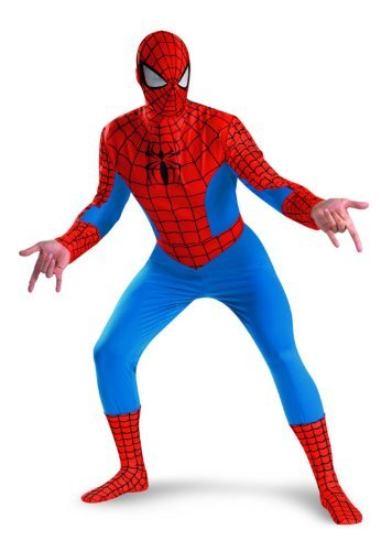 Deluxe Scary Costumes - Disguise Men's Marvel Spider-Man Deluxe Costume, Blue/Red, XX-Large
