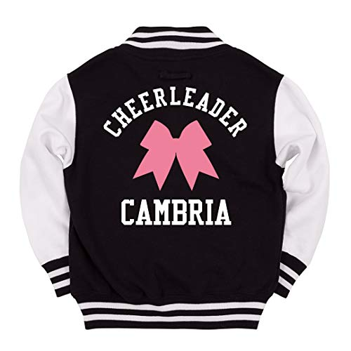 FUNNYSHIRTS.ORG Cheerleader Cambria Kids Jacket: Youth Varsity Letterman Jacket - Cambria Hanging
