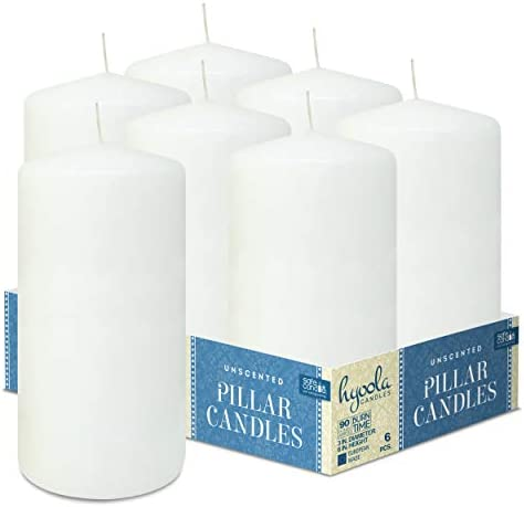 Unscented Dripless Timberline Rustic Wood Pillar Candles Size Variations 6 Pack Hyoola Mustard Yellow