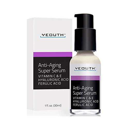 Anti-aging Super Serum, Ferulic Acid, Vitamin C, Vitamin E, Hyaluronic Acid by YEOUTH. Night Cream and Day Cream. Face Cream Reduces Visible Signs Of Aging, Wrinkles, Fine Lines, Unscented - 1oz