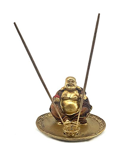 Bellaa 22397 Happy Buddha Statues Incense Stick Holder