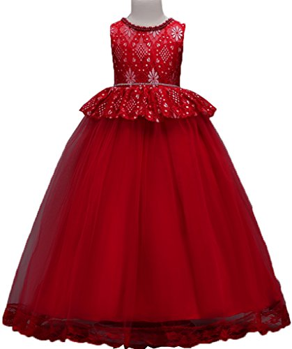 Shiny Toddler Little Girls Lace Birthday Party Ball Gown Floor Length Dress,7 to 8(Size - Red Shiny Ball
