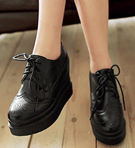 Idifu Moda Donna Allacciate Stringate Basse Stringate Basse Sneakers Alte Con Plateau Nere