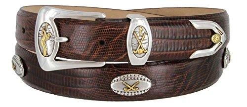Bellerive Men's Italian Calfskin Designer Dress Belt with Golf Conchos (Lizard Brown, 42) (Golf Concho Belts)