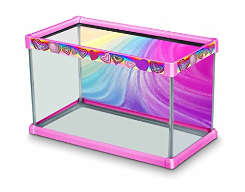 """Elive Aquarium Fish Tank Decorative Frame Kit with Background for 10 Gallon Tanks (20"""" x 10"""" x 12""""), Playful Pink - Bedazzled Heart Design"""