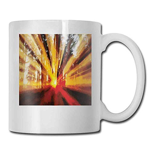 Porcelain Tea Mug Country Photo of Magical Sunbeams Trees at Sunset in the Forest Nature Scenery Print Double-Sided 11 oz Yellow Orange