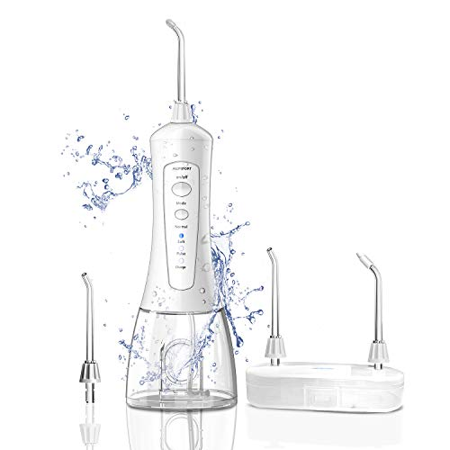 Ailifefort Water Flosser Portable Cordless Oral Irrigator with Travel Bag, Sealing Plug, Storage Box, High Capacity Water Tank, 4 tips, IPX7 Waterproof, 3 Modes for Travel, Braces & Bridges Care White
