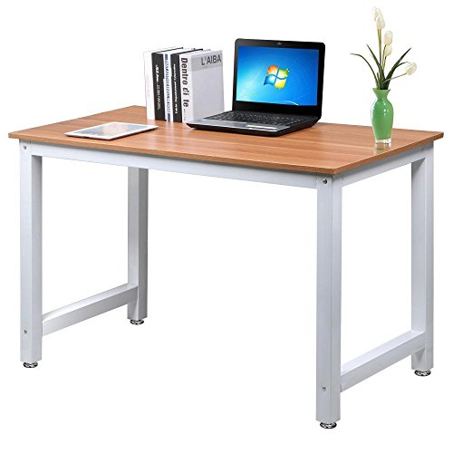 Yaheetech Modern Simple Computer Desk Corner Desk PC Laptop Study Table Workstation Home Office Wood & Metal, Brown - Country Style Computer