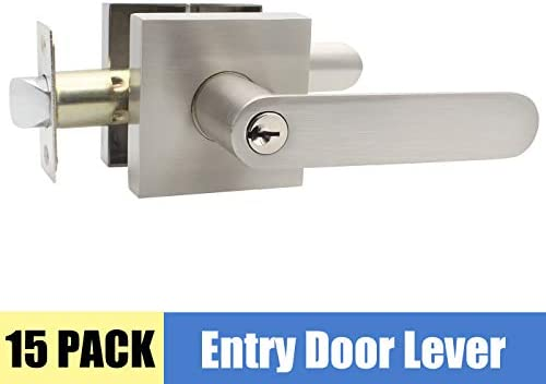 Satin Nickel Finish Entry Door Handles For Security Exterior Front Door Locks With Same Key Modern Door Hardware For Commercial Residential Use Right Handed 15 Pack