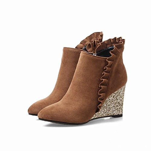 Mee Shoes Women's Sweet Wedge Heel Pointed Toe Zip Short Boots Brown F40qlQ1