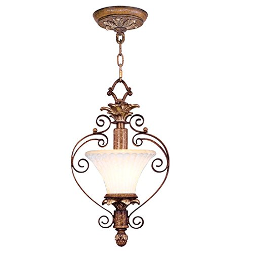 Pendants Porch 1 Light with Vintage Carved Scavo Glass Venetian Patina Size 9 in 100 Watts - World of Crystal
