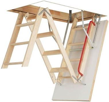Optistep - Escalera plegable de madera de 3 secciones para desván y ático, tamaño del marco: 60 x 120 cm de altura hasta 280 cm y escotilla aislada: Amazon.es: Bricolaje y herramientas