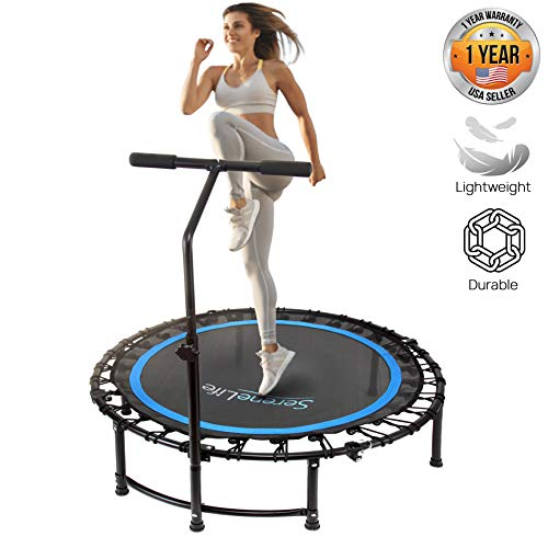 "SereneLife 36"" Inch Portable Fitness Trampoline - Sports Trampoline with Adjustable Handrail for Indoor and Outdoor Use - Professional Round Jumping Trampoline - Cardio Trampoline"