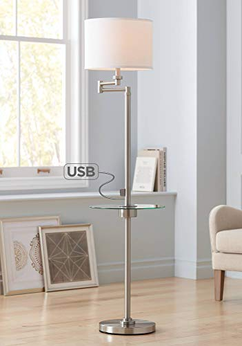 (Skylar Modern Floor Lamp with Table and USB Charging Port Swing Arm Brushed Nickel Fabric Drum Shade for Living Room)