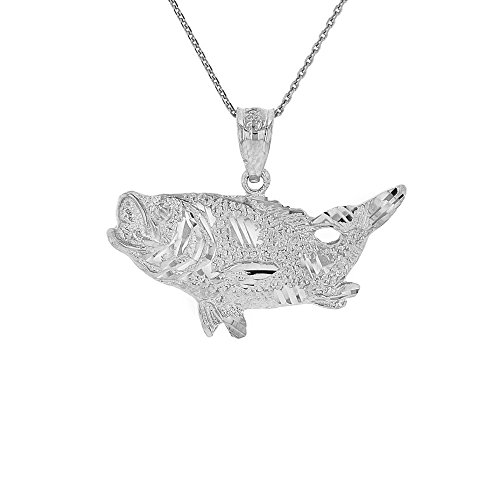 14k White Gold Sea Bass with Tail Up Pendant Necklace, 18