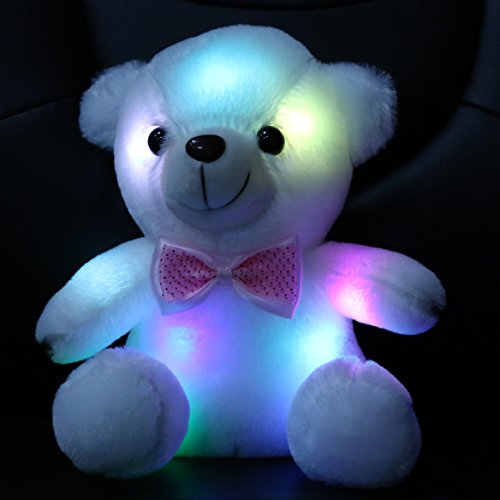 Wewill Stuffed Teddy Bear Toy with LED Night Light, 8-Inch, White (Stuffed Animals White Bear)