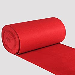 Jeteven Red Carpet Carpet 1mm Thick Polyester Wedding Hollywood Awards Parties Red Carpet Floor Party Red Runner Rug Footcloth Scene Decoration 1.2m x 12m