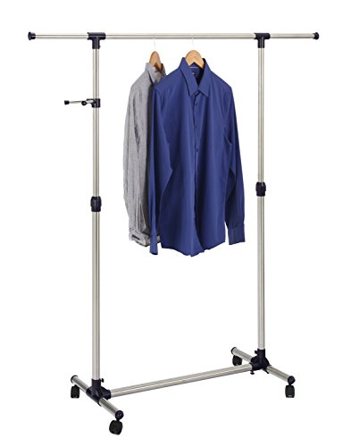 Finnhomy Single Rail Adjustable Free Standing Rolling Garmen