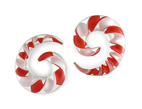 Pair Red White Ribbon Pyrex Gl